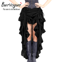 Burvogue Women Steampunk Skirts Gothic Elastic Victorian Asymmetrical Corset Skirt Costumes Black Solid Color Summer New