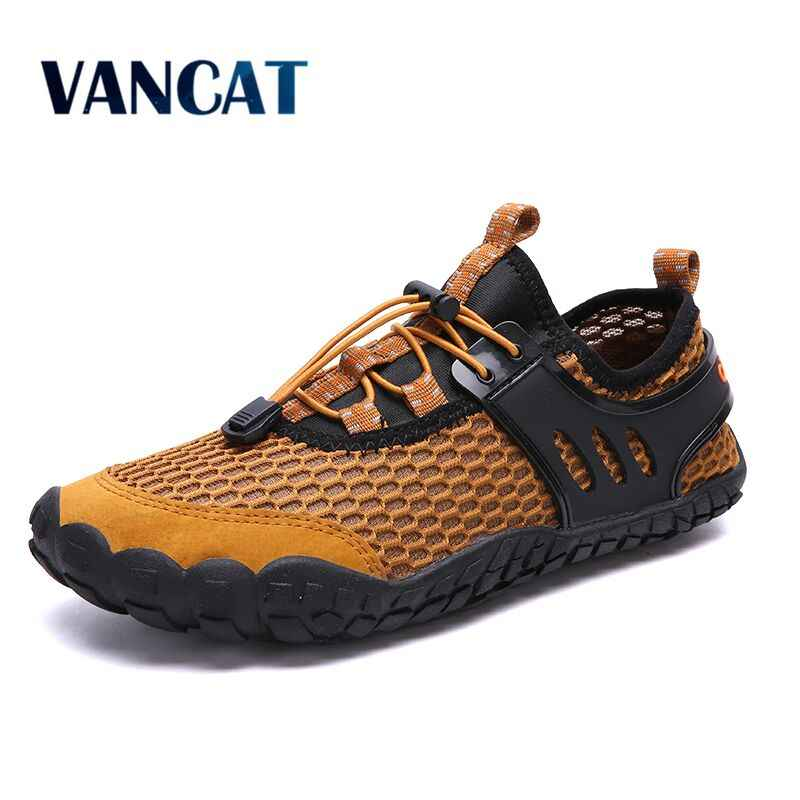 2019 New Brand Mens Breathable Mesh Men's Shoes Outdoor Flat Shoes Men Comfortable Handmade Casual Shoes Big Size39-47