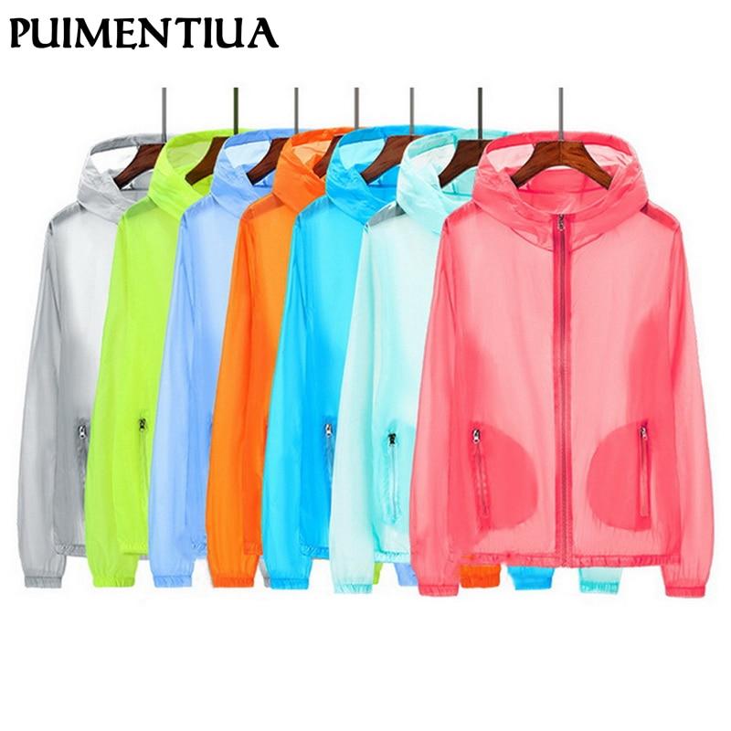 Puimentiua Unisex UV sun protection Jackets Coats clothing transparent long sleeve Hoodies shirt beachwear sunscreen cover-