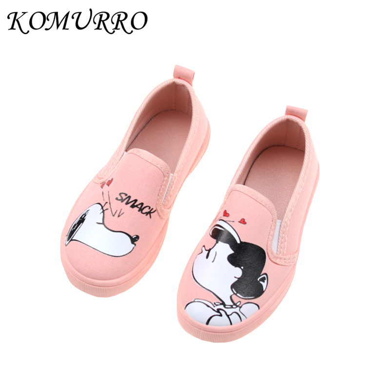 Children Canvas Shoes Girl Spring Cute Flat Shoes With Rubber Sole Girls Casual Graffiti Slip-On Kid Canvas Shoes tenis infantil