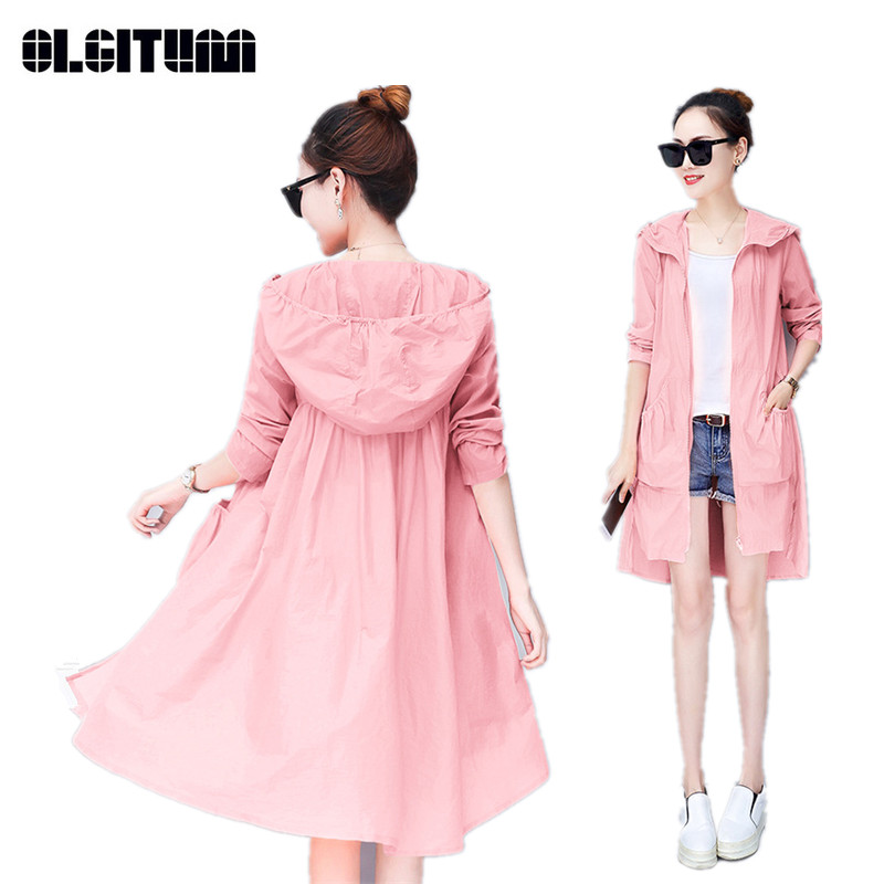 Long Women's Thin Trench Coat  Summer New Large Size Girls Trench Sun Protection New Lady's Windbreaker TR110