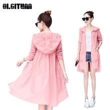 Long Women's Thin Trench Coat Summer New Large Size Girls