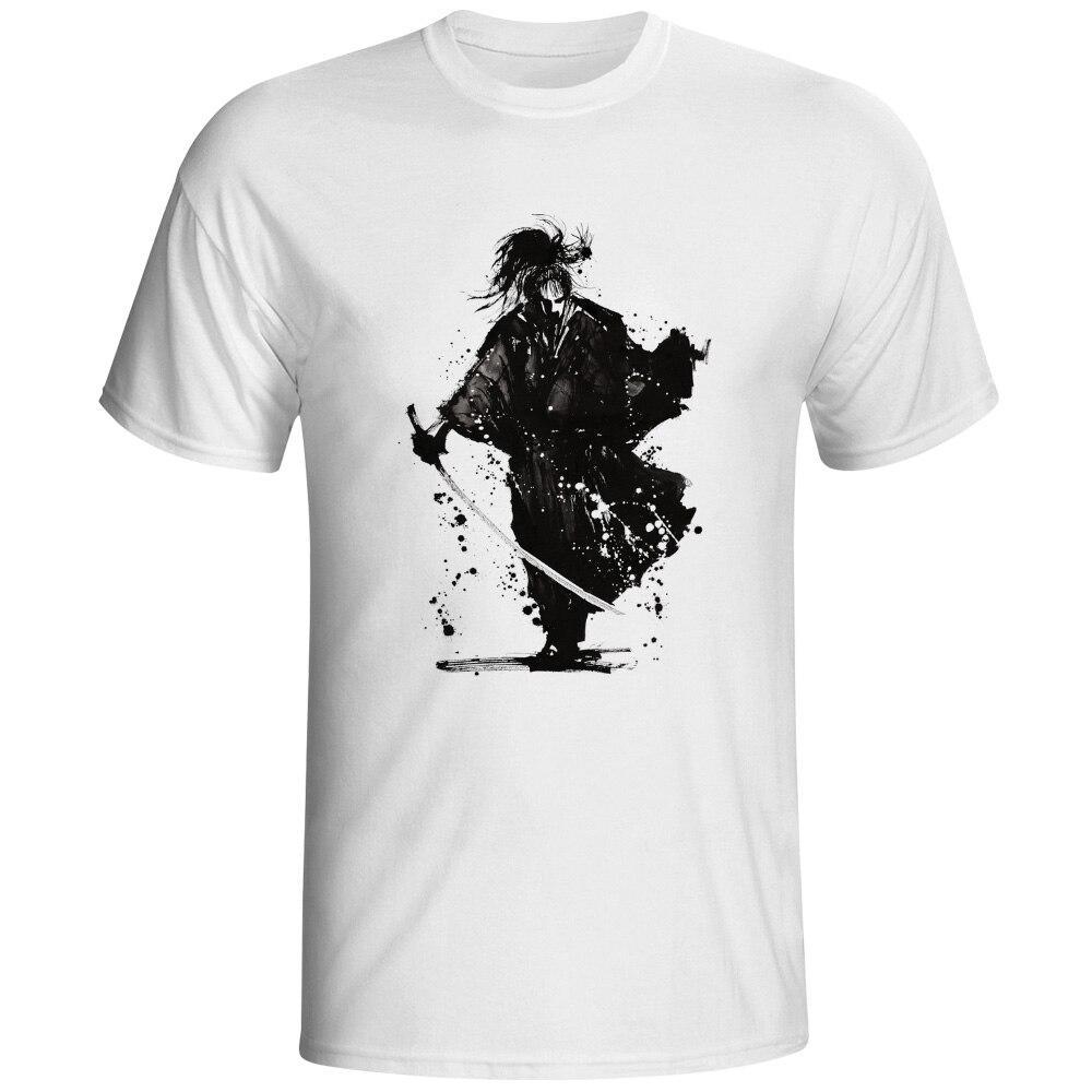 Marque Hommes T-shirt Nouveau Dessinés À La Main Japonais Solitaire Soldat Guerrier Samurai T-shirt Occasionnel Blanc À Manches Courtes T-shirt