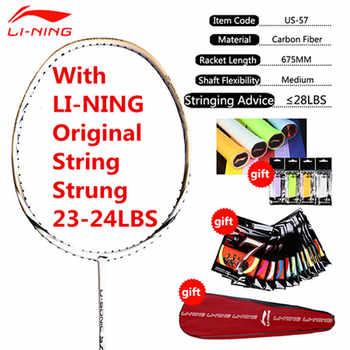 Genuine 1PCS Li-Ning Professional Badminton Rackets Full Carbon High Quailty Li Ning Racquets with String and Overgrips L999OLB
