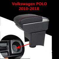 Car Armrest Case For VW Volkswagen Polo 2011 2018 Armrest Central Store Content Storage Box With Cup Holder Ashtray