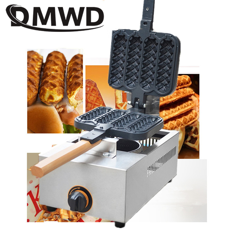 DMWD Commercial gas French Sausage Lolly Waffle Maker 4 pcs non-stick Crispy Cone hot dog Muffin baking Machine Baker snack Iron lolly waffle baker commercial snack machine stainless steel tower shaped lolly waffle machine with six pcs lolly waffle moulds