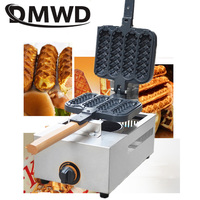 DMWD Commercial gas French Sausage Lolly Waffle Maker 4 pcs non stick Crispy Cone hot dog Muffin baking Machine Baker snack Iron