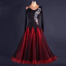 Women sparkling diamond modern dance skirt adult performance wear luxury women ballroom tango waltz dress