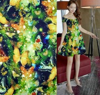 tecido colour butterfly print 19 moomin silk fabric Brand Stretch Satin Mulberry Silk Cloth Hot Sale Cheongsam dress fabric