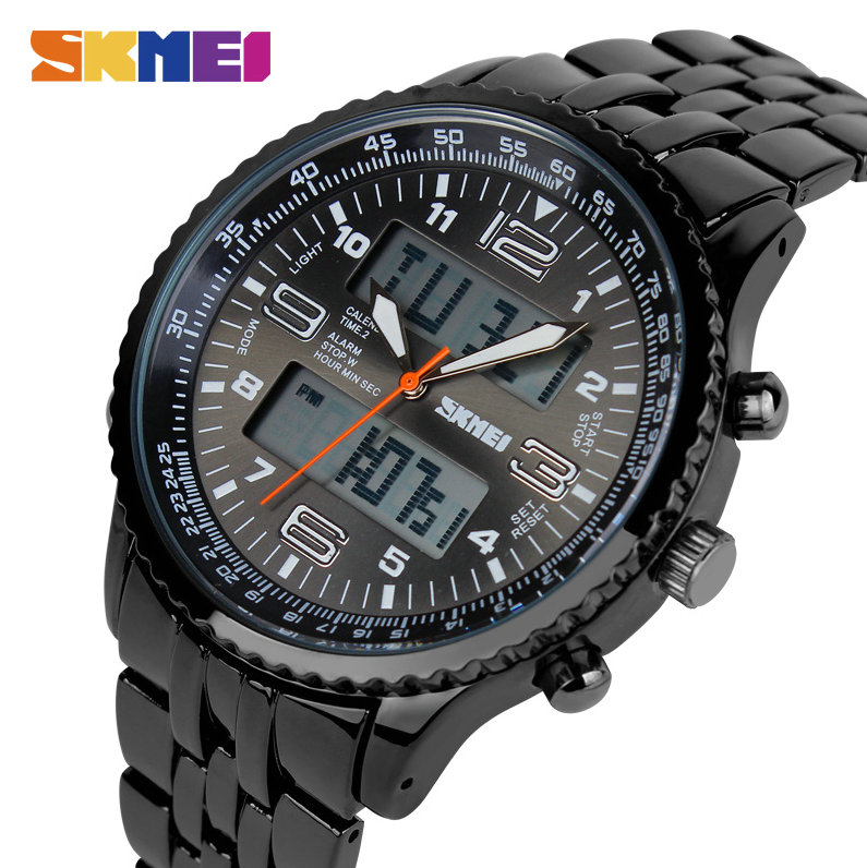 SKMEI Military Fashion Watch Men Digital Quartz Dual Dial Week Date Display Casual Stainless Steel Strap Waterproof Wristwatches