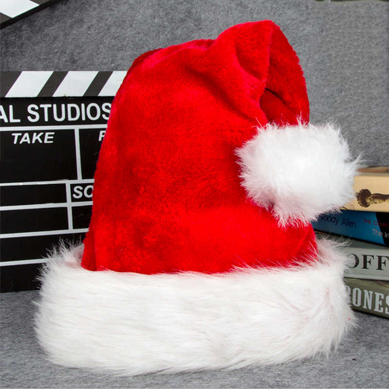 New Year Red Santa Hat Winter Warm Christmas High-grade Plush Adult Hat To Increase Thickening Big Ball Soft Plush Christmas Hat