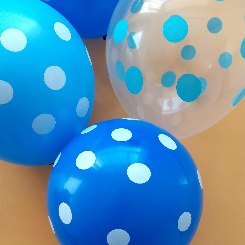 50 pcs/lot bleu polka points 12 pouce 2.8g transparent bleu ballon de fête d'anniversaire décoration de mariage hélium ballons Chaude