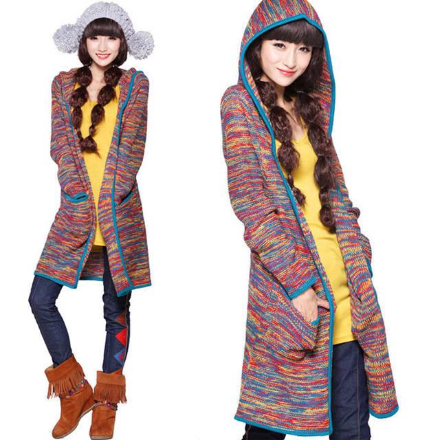 Winter Autumn 2014 Korean long hooded sweater coat of long ...