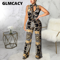Women Elegant Party Jumpsuit Sexy Sleeveless Vintage Printed Bodycon Rompers Jumpsuit Summer Jumpsuit