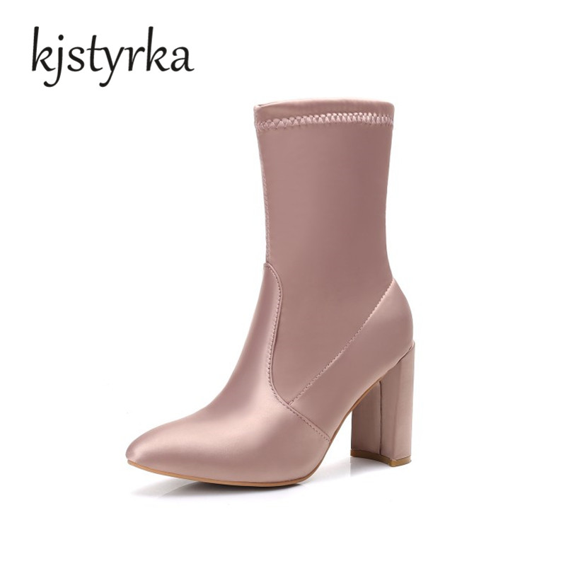 Kjatyrka New 2017 Sexy Pointed Toe Women Boots Fashion Square high heels Black Boots Spring Autumn Brand Design Ladies Shoes hot sale 2016 new fashion spring women flats black shoes ladies pointed toe slip on flat women s shoes size 33 43