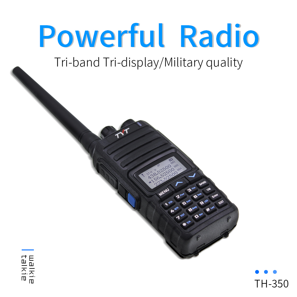NEW TYT TH-350 Walkie Talkie Tri Band 136-174MHz 220-260MHz 400-470MHz Tri Display 5W High Quality Two Way Radio FM Transceiver