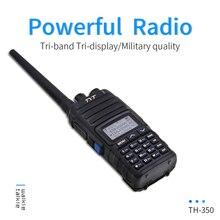 Yeni TYT TH 350 Walkie Talkie Tri Band 136 174MHz 220 260MHz 400 470MHz Tri ekran 5W yüksek kaliteli iki yönlü telsiz FM alıcı verici