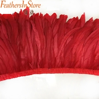 2 yards/lot double layer thickness red rooster tail Feather fringes 12 14 cock coque feather trims Free shipping