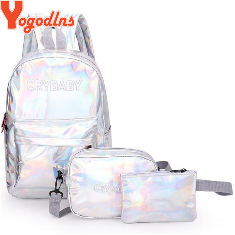 Yogodlns 2019 Holographic Laser Backpack Embroidered Crybaby Letter Hologram Backpack Set School Bag +shoulder Bag +penbag 3pcs