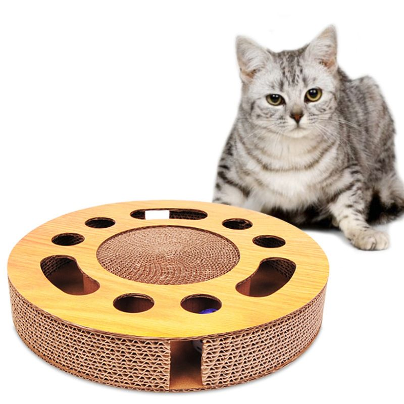 Pet Cat Scratcher Interactive Catnip Toys Kitten Scratching Cardboard with Balls