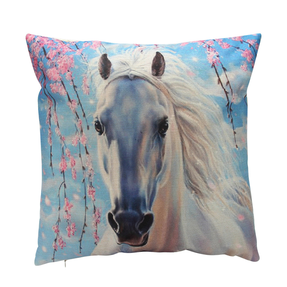 white horse throw pillow covers animal pattern pillowcase cushions cover decorative for sofa. Black Bedroom Furniture Sets. Home Design Ideas