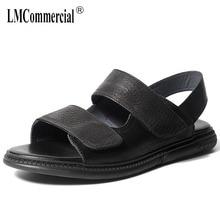 купить Genuine Leather mens sandals summer Sneakers Men Slippers Flip Flops casual Shoes beach outdoor anti-skid mens roman sandals дешево