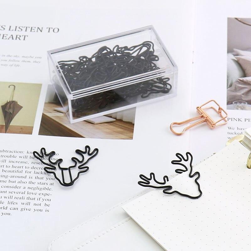 TUTU 20/10PCS Vintage Deer Metal Paper Clips Bookmark Pin Karea Stationery Office Accessories Memo Clips H0219