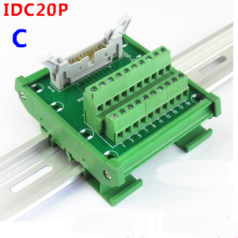 IDC20P male socket to 20P terminal block breakout board adapter PLC Relay terminal station DIN Rail TypeIDC20P male socket to 20P terminal block breakout board adapter PLC Relay terminal station DIN Rail Type