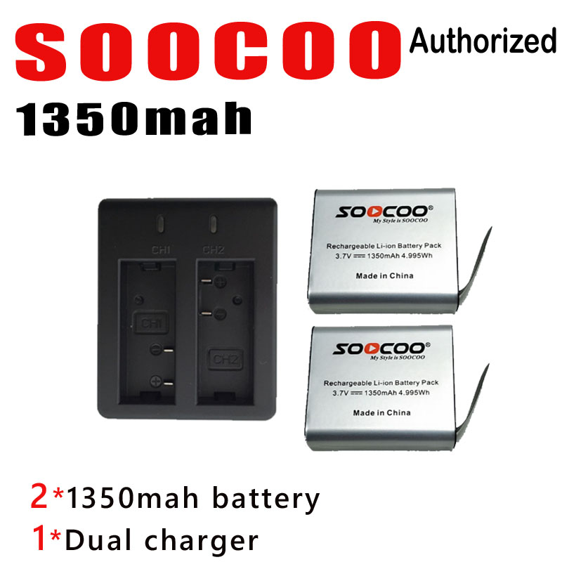 SOOCOO For Gopro Accessories For Go Pro Camera 1350mah Battery And Dual Charger For Eken H9 H9r Soocoo C30 C30r Sjcam Sj4000