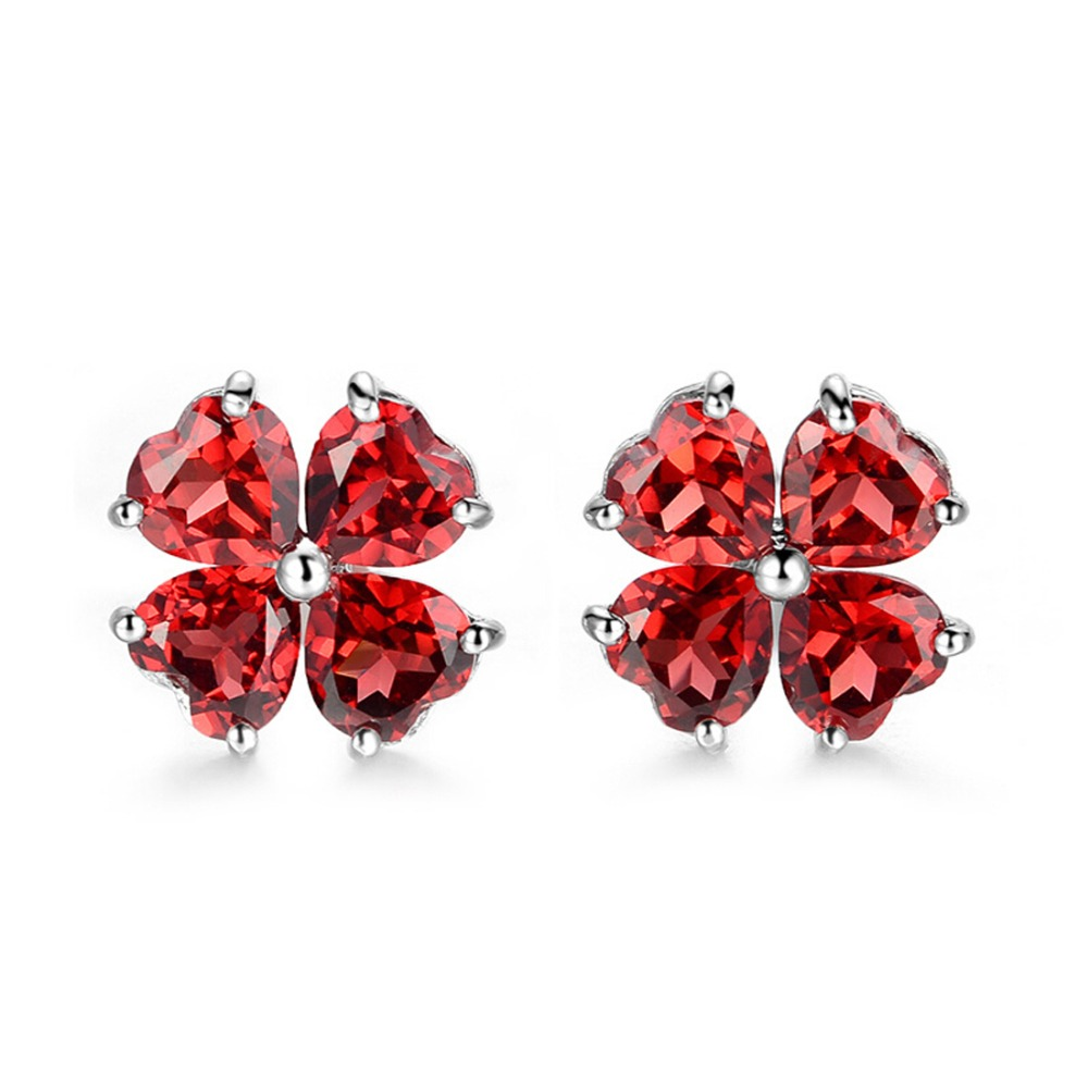 Garnet Stone Gemstone Stud Earring Gift Jewellery For Girl women 925 Sterling Silver Garnet Stud Post Earrings