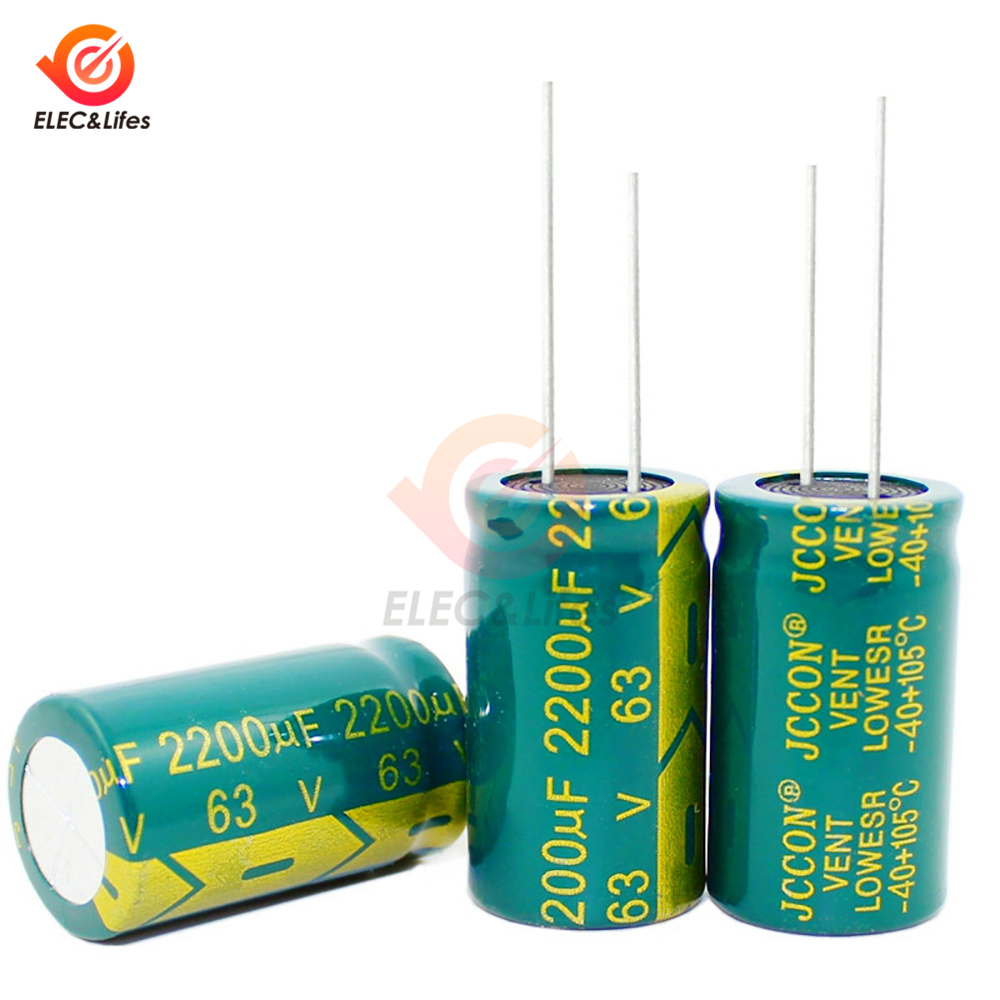 50Pcs 63V 2200UF Aluminum Electrolytic Capacitor 18*31mm High Frequency Low Impedance Electrolytic Capacitors 2200uf 63V