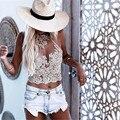 Bordados de ouro Rendas Sexy Trop Top Fashion Curto Verão Mulheres Tops