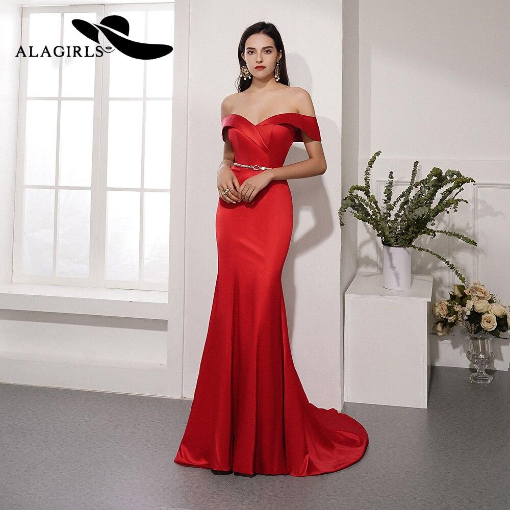 Alagirls nouveauté robe de soirée sirène rouge chérie robe de soirée élégante robe de bal Vestido de noche 2019 robe de soirée