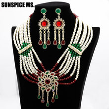 Sunspicems Flower Bead Pearl Jewelry Sets Moroccan Long Drop Earring Necklace Big Pendant For Women Ethnic Wedding Bridal Gift