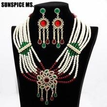 Sunspicems flor grânulo pérola conjuntos de jóias marroquino longo gota brinco colar grande pingente para feminino étnico casamento nupcial presente