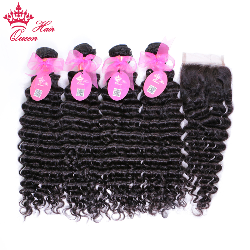 Queen Hair Products Brazilian Deep Wave Bundles with Closure Remy Human Hair Weave 4 Bundles With