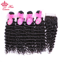 Queen Hair Products Brazilian Deep Wave Bundles with Closure Remy Human Hair Weave 4 Bundles With Lace Closure Free Shipping