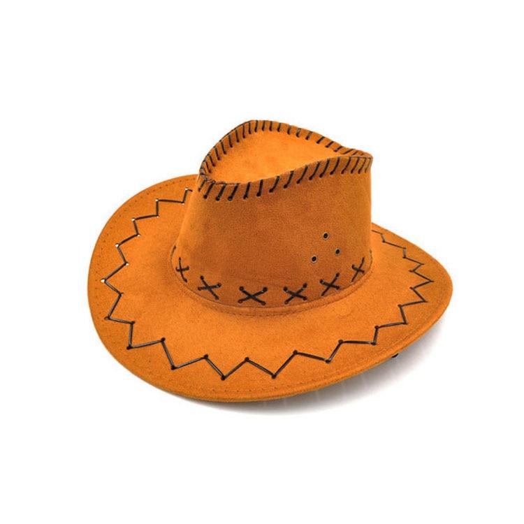 100pcs/lot Wide Brim Cowboy Hat Suede Look Wild West Fancy Dress Men Girls Solid Colors Gorros Cap Women's Hats Chapeau Femme 4