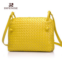 Difenise Weaving Style the first layer of Sheepskin Handmade Women Handbags Zipper Knitting Lady Handbags High quality
