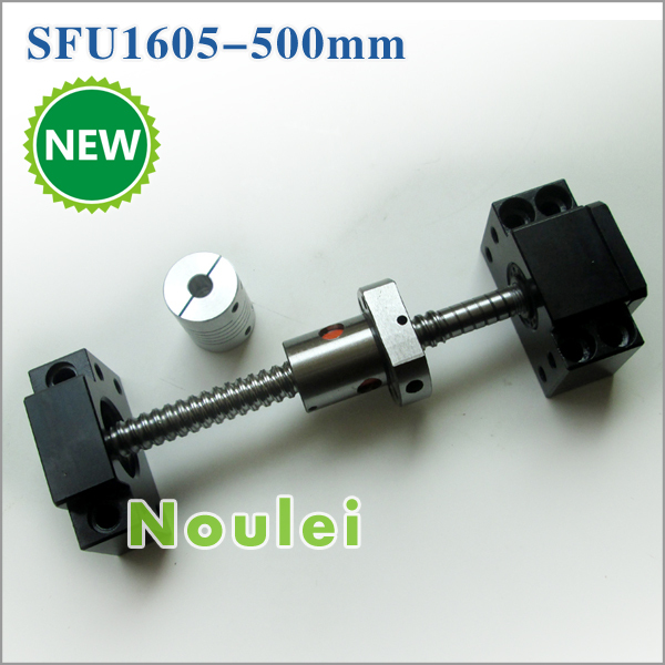ФОТО Rolled Ball Screw 1605 500mm rm1605 lead 5mm with SFU1605 ballnut + BK12 BF12 and coupling for CNC diy kit set