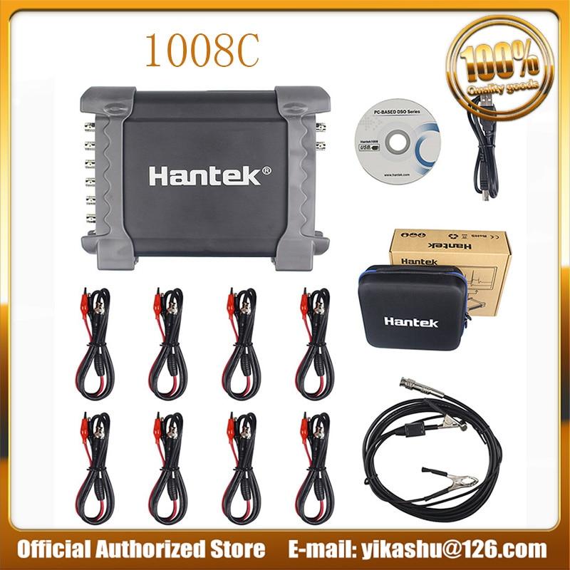 Hantek 1008c Automotive Oscilloscope DAQ Programmable Generator Handheld 8 Channels USB Oscilloscopes with Auto Ignition Probe