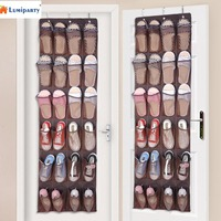 Redcolourful 24 Bolsos de tecido Não-Tecido Em Cima da Porta Pendurado Organizador de Sapato Economizar Espaço Utensílios Domésticos (com 3 ganchos)-30