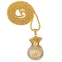 Men Hip Hop Gold Plated Money Pocket US Dollar Pendant Collier Femme Necklace Long Body Chain