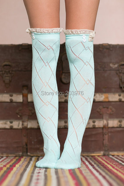 Women and Teens lace socks cotton button Boot Socks With Lace Trim Girls Knee Socks 1 pairs/lot Free shipping Six Colors