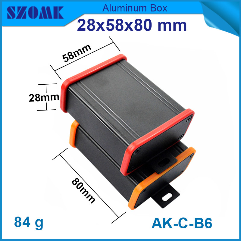 1 piece anodizing aluminum housing enclosure for power supply box szomk junction case 28*58*100mm 1 piece black diy electrical aluminum enclosure small switch box with anodizing 24x80x90mm