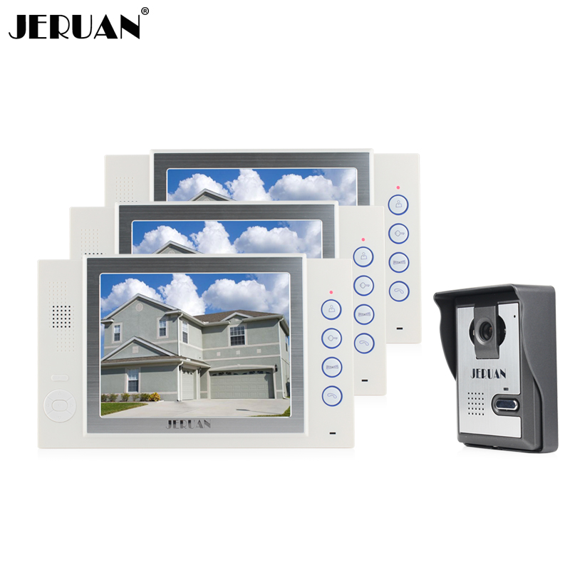 JERUAN 8``LCD video door phone doorbell 3 monitors 1 Camera intercom system video recording photo taking doorphone intercom jeruan 8 inch video door phone high definition mini camera metal panel with video recording and photo storage function