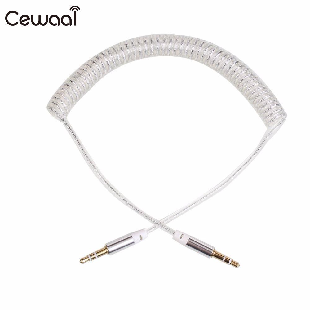 Hospitable Cewaal Silver Durable 3.5mm Aux Spring Cable Jack To Jack Male Audio Auxiliary Plug Lead Car Speaker Earphone Accessories In Pain Portable Audio & Video