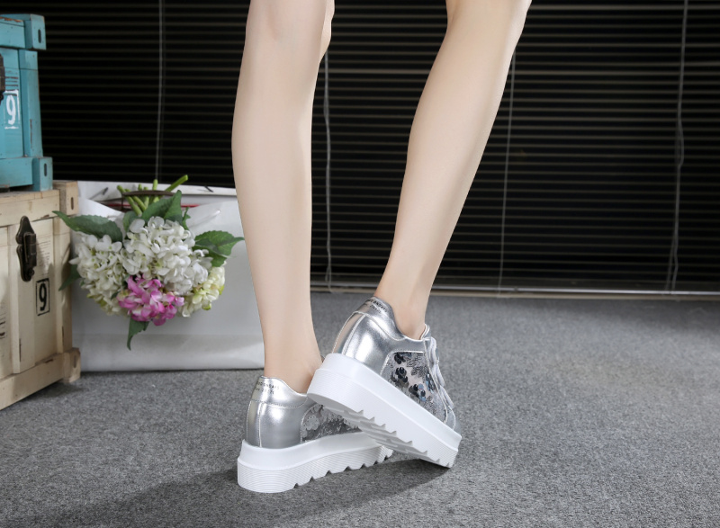 SWYIVY Women Walking Shoes Look Hoop Height Increasing 8cm Sequins 2018  Spring And Summer Muffin Thick-soled Female Causual Shoe US 31.73   pair 01539d988d8a