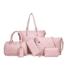 6pcs Women Bag Set Leather Handbag Female Totes Brand Designer Crossbody For Lichi Shoulder Messenger Clutch Purse