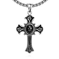Men Cool Black Silver Stainless Steel Cross Pendant Classical Catholic Church Religion Crucifix Charm Necklace Statement
